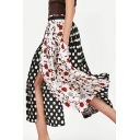 Plaid Floral Polka Dot Printed Patchwork Maxi Asymmetric Skirt