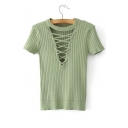 Hollow Out Lace Up Front Round Neck Short Sleeve Ribbed Knit Tee