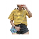 Chic Leisure Striped Printed Round Neck Short Sleeve Tee