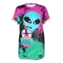 3D Alien Drink Letter Printed Round Neck Short Sleeve Tee