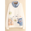 Cat Fish Chinese Printed Fake Two Piece Lapel Collar Long Sleeve Sweatshirt