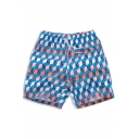 Colorful Men's Blue Cube Geo Swim Trunks Beachwear with Hook and Loop Pockets