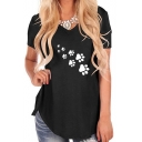 Cute Paw Printed Round Neck Short Sleeve Tee