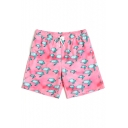 Cute Pink Turtle Printed Stretch Bathing Suit Trunks with Mesh Brief