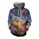 Chic Fashion Nebula Galaxy Print Long Sleeves Pullover Hoodie with Pocket