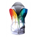 Colorful Splash Ink Printed Sleeveless Zip Up Hoodie