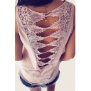 Crochet Embellished Hollow Out Back Round Neck Sleeveless Tank