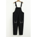 Cat Embroidered Loose Overall Jumpsuit