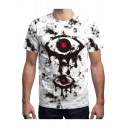 Eyes Splash Ink Printed Round Neck Short Sleeve Tee