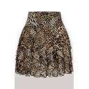 Leopard Printed Pleated Elastic Waist Mini Chiffon Skirt