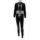 Letter Printed Long Sleeve Crop Hoodie with Cut Out Detail Drawstring Pants Co-ords