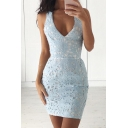 Lace Plunge V Neck Cross-back Cutout Sexy Dress