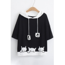 Color Block Drawstring Hood Short Sleeve Cat Embroidered Hooded Tee