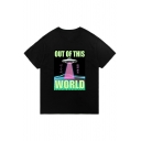 Original OUT OF THIS WORLD Letter and Space Ship Graphic Printed Round Neck Short Sleeves Tee
