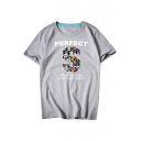 PERFECT S Letter Printed Round Neck Short Sleeve Tee