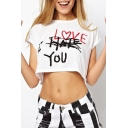 I LOVE YOU Letter Printed Round Neck Short Sleeve Cropped Tee