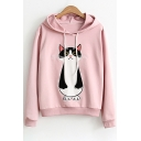 Cat Embroidered Long Sleeve Hoodie