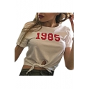 1985 Number Printed Round Neck Short Sleeve Tied Hem Crop Tee