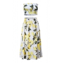 Lemon Printed Crop Bandeau with Elastic Waist Maxi Skirt Co-ords