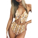 Tied Front Hollow Out Floral Printed Spaghetti Straps Sleeveless One Piece Swimwear