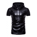 PU Patchwork Short Sleeve Slim Hooded Tee
