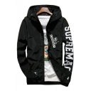 Letter Printed Hooded Long Sleeve Zip Up Sports Coat