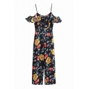 Floral Printed Spaghetti Straps Ruffle Sleeve Jumpsuits