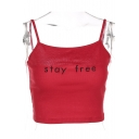STAY FREE Letter Embroidered Spaghetti Straps Sleeveless Crop Cami