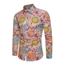 Fashionable Floral Printed Long Sleeve Lapel Collar Single Breasted Shirt