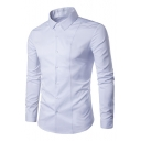 Plain Lapel Collar Long Sleeve Buttons Down Slim Casual Shirt