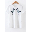 Crane Letter Embroidered Round Neck Short Sleeve Tee
