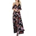 Sexy V Neck Cold Shoulder Short Sleeve Floral Printed Split Front Maxi A-Line Dress