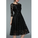 Lace Round Neck Half Sleeve Gather Waist Plain Midi Dress