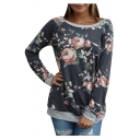 Color Block Floral Printed Boat Neck Long Sleeve Sweatshirt