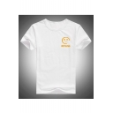 Sad Face Letter Printed Round Neck Short Sleeve Tee
