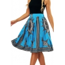 Digital Printed High Waist Midi A-Line Skirt