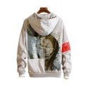 Abstract Character Printed Letter Embroidered Zip Up Long Sleeve Hooded Coat
