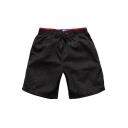 Men's Cool Elastic Black Floral Leaf Print Swim Trunks Beach Shorts with Black Liner