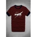 Contrast Trim NASA Letter Printed Round Neck Short Sleeve Tee