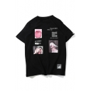 Letter Number Character Printed Round Neck Short Sleeve Tee