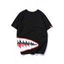 Shark's Mouth Printed Round Neck Short Sleeve Tee