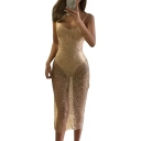 Sequined Spaghetti Straps Sleeveless Slim Maxi Party Dress