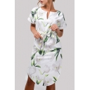 Elegant Floral Printed V Neck Short Sleeve Midi A-Line Dress