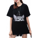 Triangle Cat Printed Round Neck Short Sleeve Tee