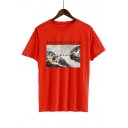 Oil Painting Letter Printed Round Neck Short Sleeve Tee