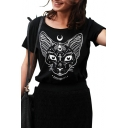Moon Cat Letter Printed Round Neck Short Sleeve Tee