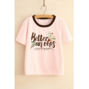 Letter Rocket Printed Contrast Round Neck Short Sleeve Tee