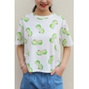 Lemon Printed Round Neck Short Sleeve Tee