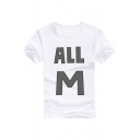 ALL M Letter Printed Round Neck Short Sleeve Tee