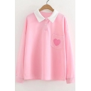 Heart Embroidered Pocket Front Lapel Double Button Long Sleeve Tee